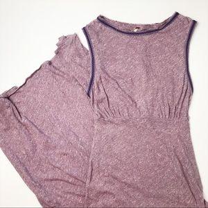 Free People Purple Embroidered Maxi Slit Dress S